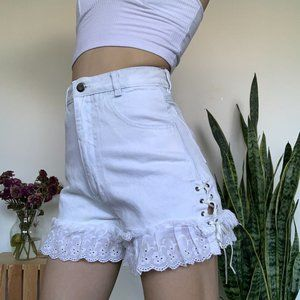 Vintage White Shorts with Lace Up detail
